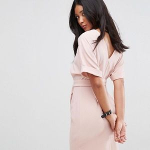 Pink mini dress with belt
